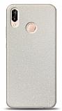 Dafoni Huawei P20 Lite Beyaz Parlak Simli Telefon Kaplama