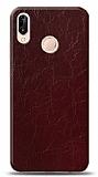 Dafoni Huawei P20 Lite Bordo Electro Deri Görünümlü Telefon Kaplama