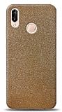 Dafoni Huawei P20 Lite Gold Parlak Simli Telefon Kaplama