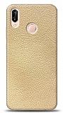 Dafoni Huawei P20 Lite Krem Deri Görünümlü Telefon Kaplama