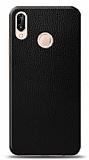 Dafoni Huawei P20 Lite Siyah Deri Görünümlü Telefon Kaplama