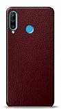 Dafoni Huawei P30 Lite Bordo Deri Görünümlü Telefon Kaplama