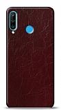 Dafoni Huawei P30 Lite Bordo Electro Deri Görünümlü Telefon Kaplama