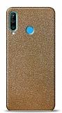 Dafoni Huawei P30 Lite Gold Parlak Simli Telefon Kaplama