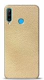 Dafoni Huawei P30 Lite Krem Deri Görünümlü Telefon Kaplama