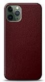 Dafoni iPhone 11 Pro Max Bordo Deri Görünümlü Telefon Kaplama