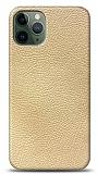 Dafoni iPhone 11 Pro Max Krem Deri Görünümlü Telefon Kaplama