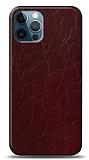 Dafoni iPhone 12 / iPhone 12 Pro 6.1 inç Bordo Electro Deri Görünümlü Telefon Kaplama