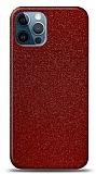 Dafoni iPhone 12 / iPhone 12 Pro 6.1 inç Kırmızı Parlak Simli Telefon Kaplama