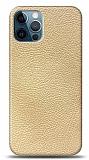 Dafoni iPhone 12 / iPhone 12 Pro 6.1 inç Krem Deri Görünümlü Telefon Kaplama
