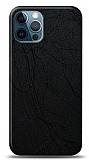 Dafoni iPhone 12 / iPhone 12 Pro 6.1 inç Siyah Electro Deri Görünümlü Telefon Kaplama