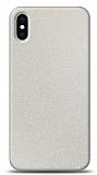 Dafoni iPhone X / XS Beyaz Parlak Simli Telefon Kaplama