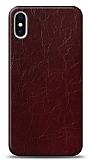 Dafoni iPhone X / XS Bordo Electro Deri Görünümlü Telefon Kaplama