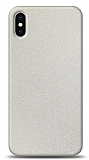 Dafoni iPhone XS Max Beyaz Parlak Simli Telefon Kaplama