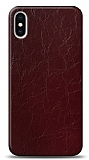 Dafoni iPhone XS Max Bordo Electro Deri Görünümlü Telefon Kaplama