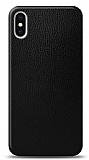 Dafoni iPhone XS Max Siyah Deri Görünümlü Telefon Kaplama