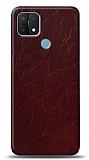 Dafoni Oppo A15s Bordo Electro Deri Görünümlü Telefon Kaplama