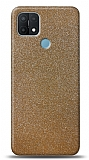Dafoni Oppo A15s Gold Parlak Simli Telefon Kaplama