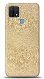 Dafoni Oppo A15s Krem Deri Görünümlü Telefon Kaplama