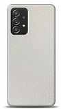 Dafoni Samsung Galaxy A52 Beyaz Parlak Simli Telefon Kaplama