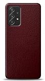 Dafoni Samsung Galaxy A52 Bordo Deri Görünümlü Telefon Kaplama