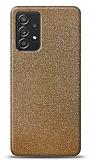 Dafoni Samsung Galaxy A52 Gold Parlak Simli Telefon Kaplama