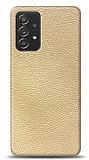 Dafoni Samsung Galaxy A52 Krem Deri Görünümlü Telefon Kaplama