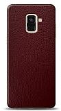 Dafoni Samsung Galaxy A6 2018 Bordo Deri Görünümlü Telefon Kaplama