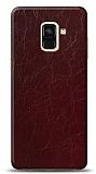 Dafoni Samsung Galaxy A6 2018 Bordo Electro Deri Görünümlü Telefon Kaplama