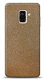 Dafoni Samsung Galaxy A6 2018 Gold Parlak Simli Telefon Kaplama