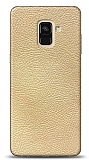 Dafoni Samsung Galaxy A6 2018 Krem Deri Görünümlü Telefon Kaplama