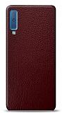 Dafoni Samsung Galaxy A7 2018 Bordo Deri Görünümlü Telefon Kaplama