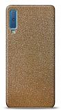 Dafoni Samsung Galaxy A7 2018 Gold Parlak Simli Telefon Kaplama