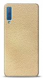 Dafoni Samsung Galaxy A7 2018 Krem Deri Görünümlü Telefon Kaplama