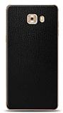 Dafoni Samsung Galaxy C9 Pro Siyah Deri Görünümlü Telefon Kaplama
