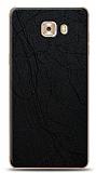 Dafoni Samsung Galaxy C9 Pro Siyah Electro Deri Görünümlü Telefon Kaplama