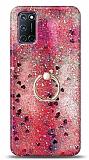 Eiroo Bright Oppo A72 Sulu Simli Kırmızı Silikon Kılıf