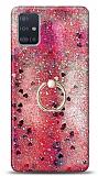 Eiroo Bright Samsung Galaxy A51 Sulu Simli Kırmızı Silikon Kılıf