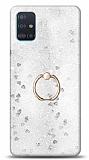 Eiroo Bright Samsung Galaxy A51 Sulu Simli Silver Silikon Kılıf