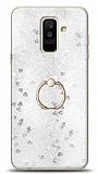 Eiroo Bright Samsung Galaxy A6 Plus 2018 Sulu Simli Silver Silikon Kılıf