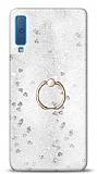 Eiroo Bright Samsung Galaxy A7 2018 Sulu Simli Silver Silikon Kılıf