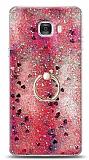 Eiroo Bright Samsung Galaxy C7 Sulu Simli Kırmızı Silikon Kılıf