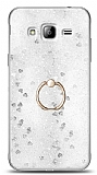 Eiroo Bright Samsung Galaxy J3 Sulu Simli Silver Silikon Kılıf