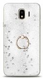 Eiroo Bright Samsung Galaxy J4 Sulu Simli Silver Silikon Kılıf