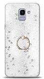 Eiroo Bright Samsung Galaxy J6 Sulu Simli Silver Silikon Kılıf