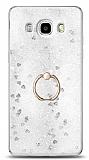 Eiroo Bright Samsung Galaxy J7 2016 Sulu Simli Silver Silikon Kılıf
