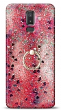 Eiroo Bright Samsung Galaxy J8 Sulu Simli Kırmızı Silikon Kılıf