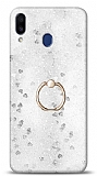 Eiroo Bright Samsung Galaxy M20 Sulu Simli Silver Silikon Kılıf