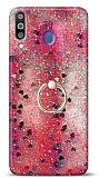 Eiroo Bright Samsung Galaxy M30 Sulu Simli Kırmızı Silikon Kılıf