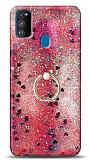 Eiroo Bright Samsung Galaxy M30S Sulu Simli Kırmızı Silikon Kılıf